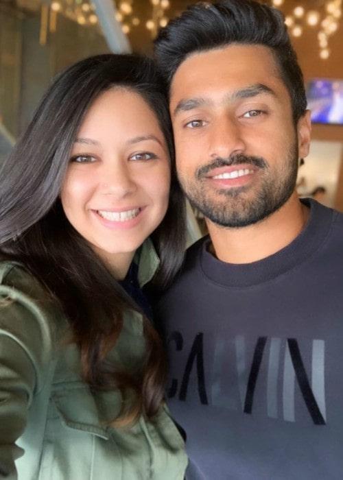 Karun Nair and Sanaya Tankariwala in a selfie in November 2019