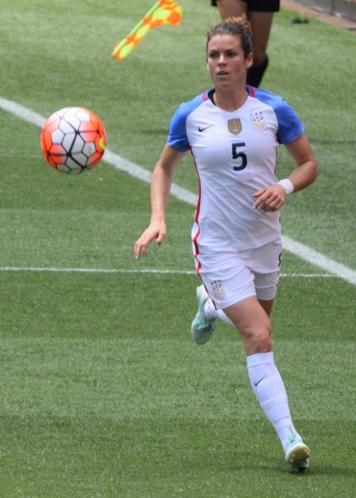 Kelley O'Hara as seen in a picture taken while she was playing for the United States Women's National Team during a match against Japan on June 5, 2016 in Cleveland, Ohio