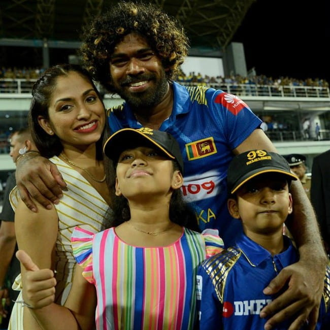 Lasith Malinga with his family as seen in July 2019