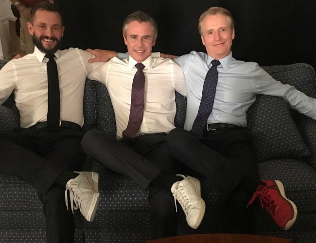 Linus Roache (Right) with his co-stars on the set of Homeland in July 2019