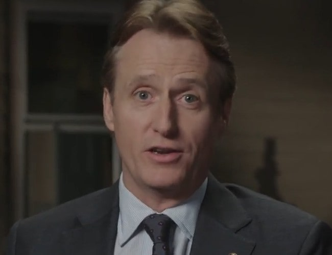 Linus Roache during an interview as seen in March 2018