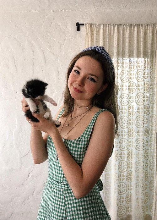 Lydia Night with her kitten as seen in April 2019