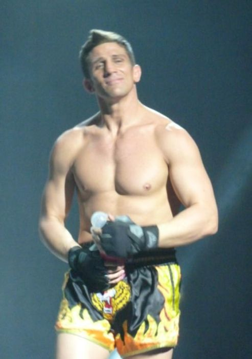 MMA fighter Alex Reid performing on the Wildboyz tour in 2012