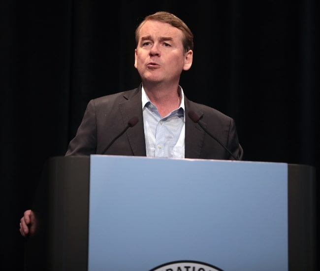 Michael Bennet as seen while speaking with attendees at the 2019 Iowa Federation of Labor Convention hosted by the AFL-CIO at the Prairie Meadows Hotel in Altoona, Iowa