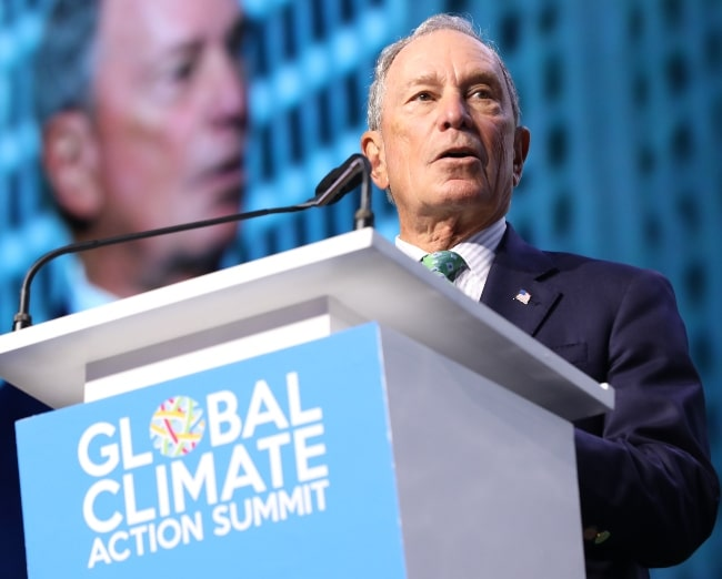 Michael Bloomberg as seen while speaking at Global Climate Action Summit in September 2018