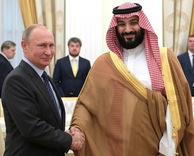 Mohammad bin Salman (Right) as seen while shaking hands with President Vladimir Putin in June 2018