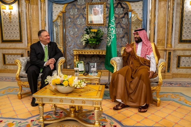 Mohammad bin Salman (Right) in a picture taken while meeting the U.S. Secretary of State Michael R. Pompeo in Jeddah, Saudi Arabia in September 2019