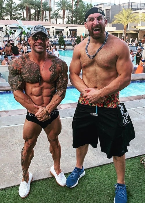 Mojo Rawley as seen in a picture taken with Fitness trainer and businessman Chris Cavallini at the Wet Republic Ultra Pool in September 2019