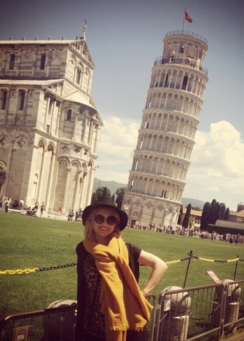 MyAnna Buring as seen in a picture taken in front of the Leaning Tower of Pisa in Pisa, Italy in June 2014