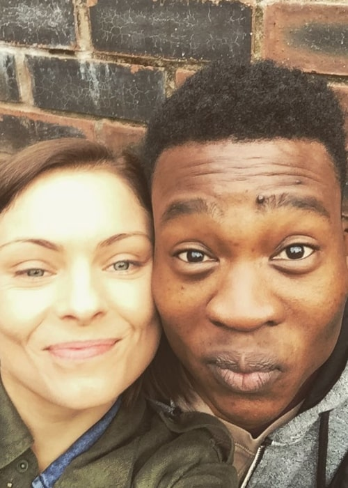 MyAnna Buring as seen in a selfie taken in June 2016, with actor Fisayo Akinade
