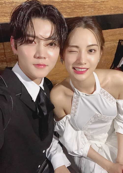 Nana (Im Jin-ah) as seen in a selfie taken with singer Ren in May 2018