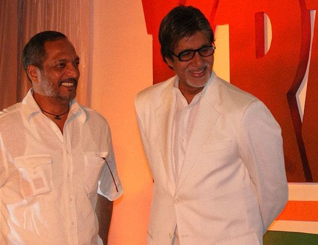 Nana Patekar (Left) and Amitabh Bachchan as seen in March 2009
