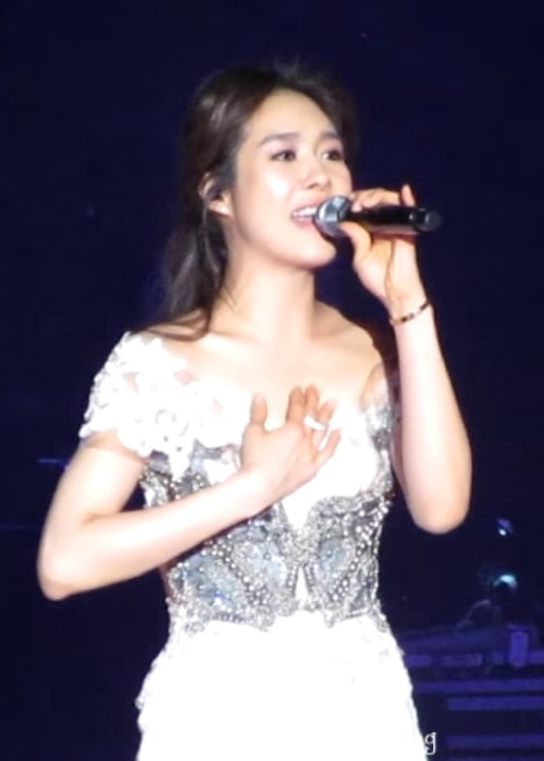 Ock Joo-hyun as seen during a performance of hers at ballad singer and musical theater actor Park Hyo Shin's concert on February 15, 2015