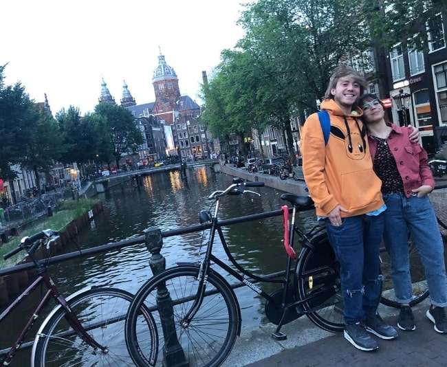 Paulo Londra as seen while smiling in a picture along with his sister, May, at Trinity Cafe in Amsterdam, Netherlands in August 2019