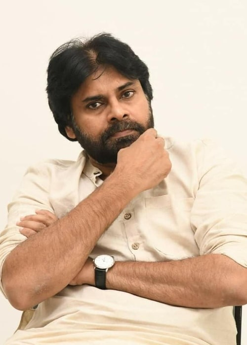 Pawan Kalyan as seen in a picture taken during an interaction with construction workers at Mangalagiri in Andhra Pradesh in October 2019