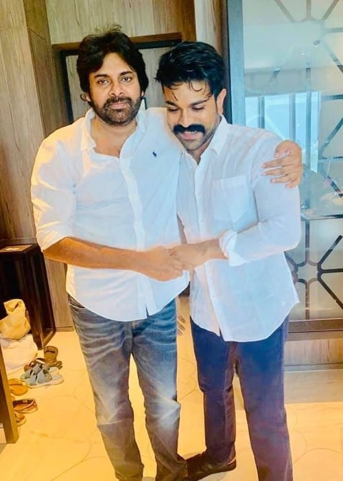 Pawan Kalyan as seen in a picture with his nephew Ram Charan in September 2019
