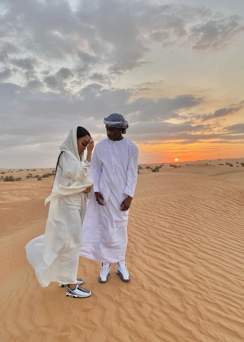 Polo G as seen in a stunning picture alongside Crystal Blease while enjoying Dubai Desert Safari in January 2020