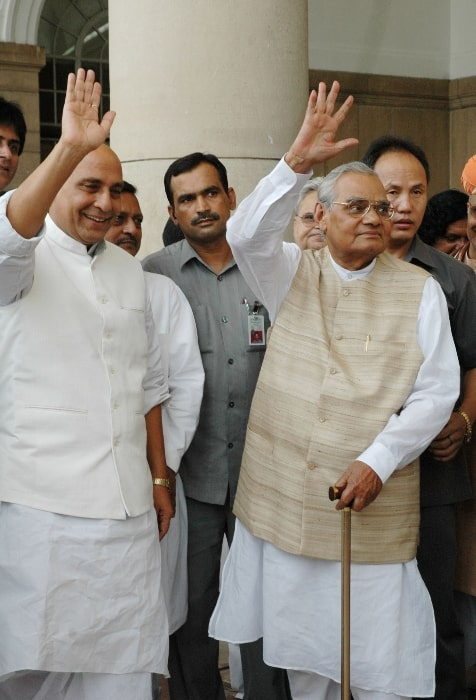 Rajnath Singh (Left) alongside former Prime Minister Shri Atal Bihari Bajpayee while coming out from the polling booth after casting their vote for the Presidential election at Parliament house in 2007