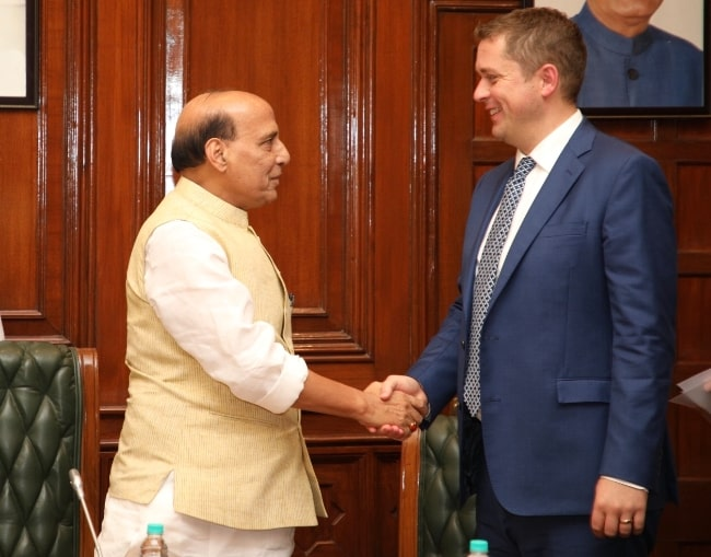 Rajnath Singh (Left) as seen while meeting Canadian politician Andrew Scheer in October 2018
