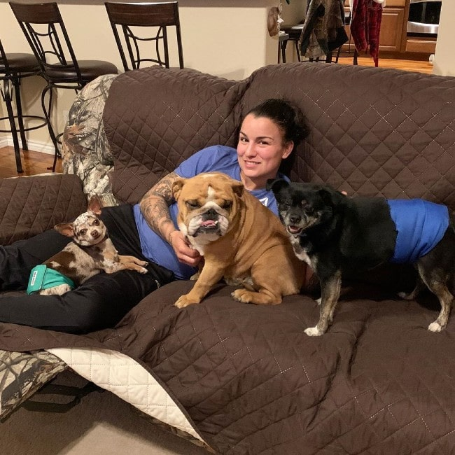 Raquel Pennington with her dogs as seen in December 2019