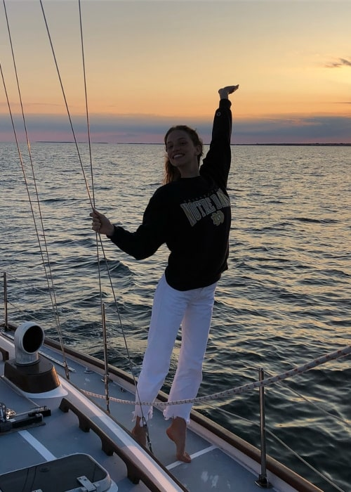Rebecca Leigh Longendyke as seen in a picture taken on a yacht at Harwich Port in Massachusetts in July 2018