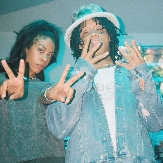 Rico Nasty as seen while posing for a picture alongside Trippie Redd in 2019