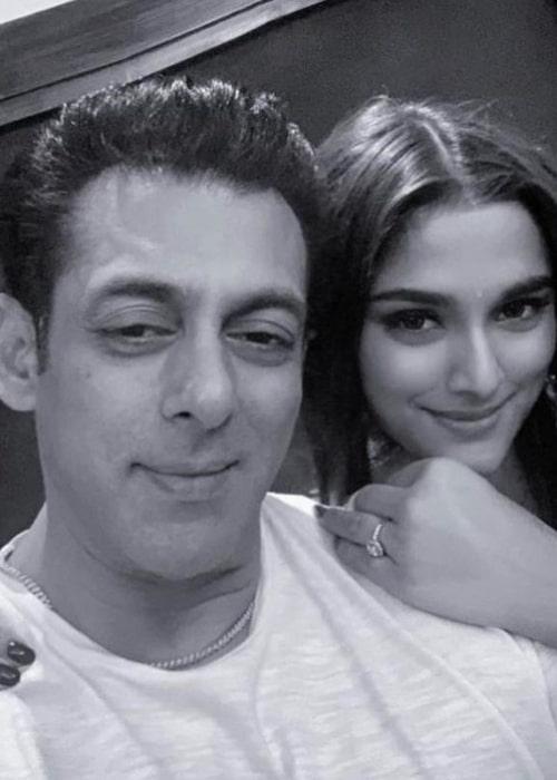 Saiee Manjrekar as seen in a selfie taken with veteran actor Salman Khan in December 2019