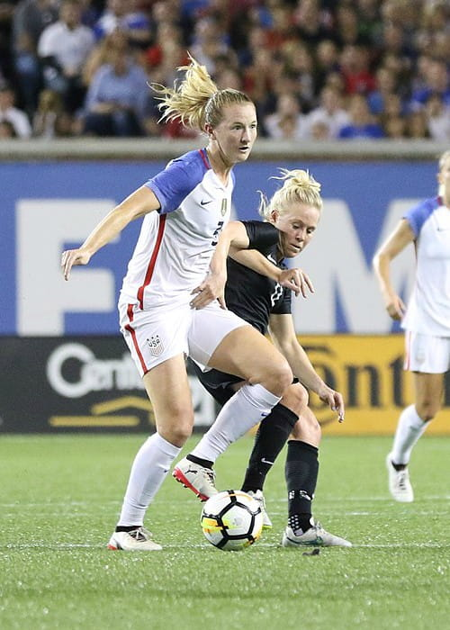 Sam Mewis during a match as seen in September 2017