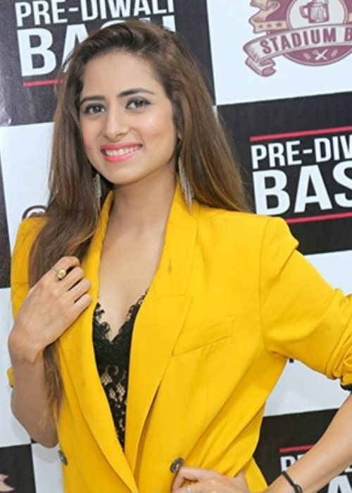 Sargun Mehta as seen while posing for the camera at a pre-Diwali party