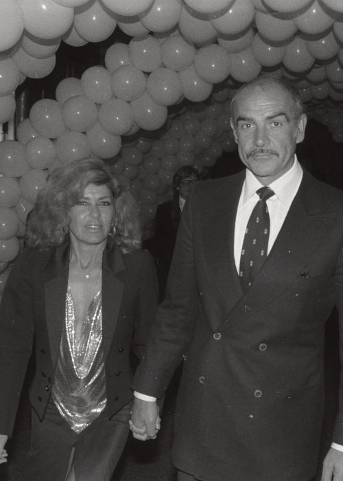 Sean Connery as seen in a picture with his wife Micheline Roquebrune on December 10, 1980 at a private party after the premiere of the movie Seems Like Old Times