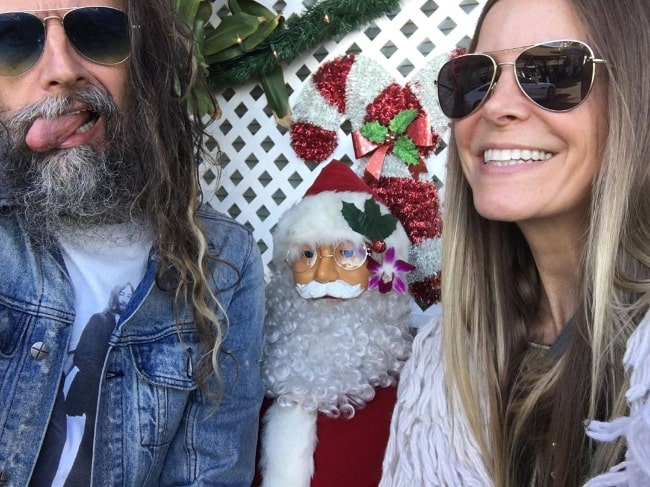 Sheri Moon Zombie as seen while taking a Christmas Eve selfie along with Rob Zombie in December 2019