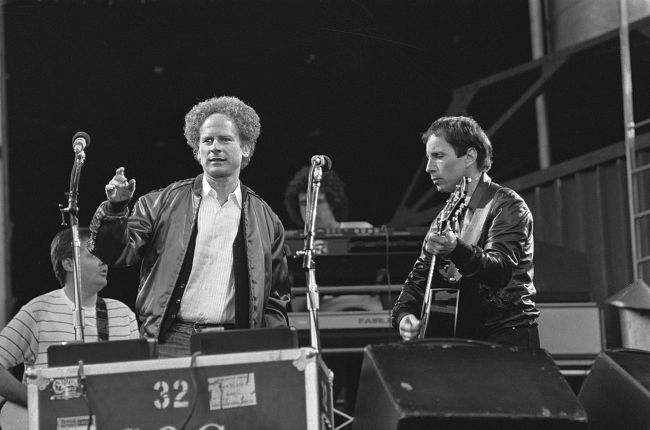 Simon & Garfunkel performing at the Feijenoord stadium in Rotterdam in 1982