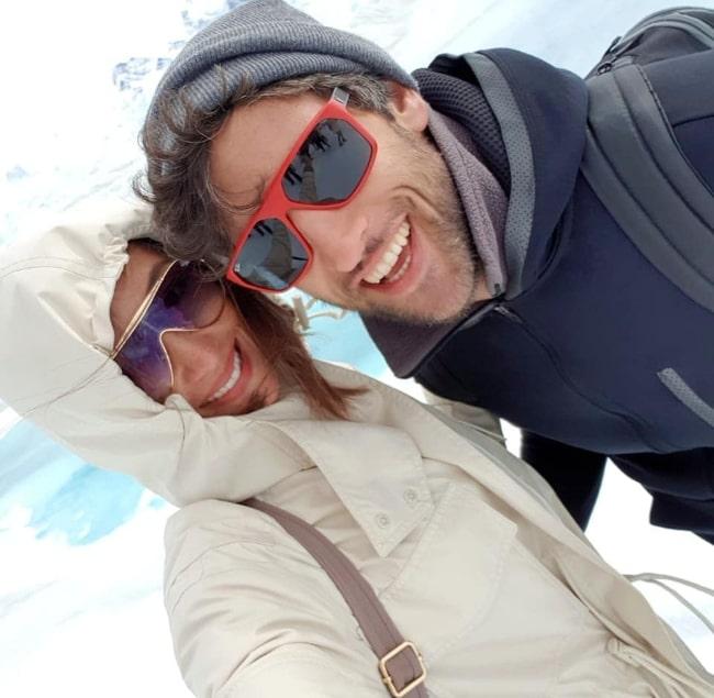 Solenn Heussaff as seen while smiling in a picture with Nico Bolzico in October 2018 in Perito Moreno Glacier, El Calafate, Argentina