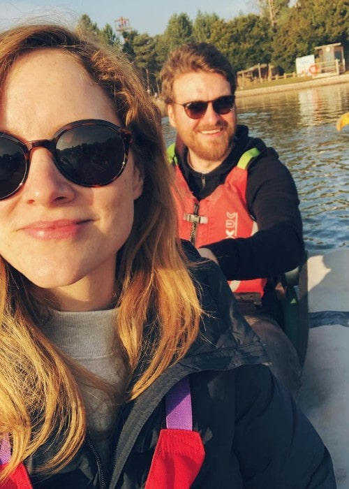 Sophie Rundle with her fiance as seen in February 2019