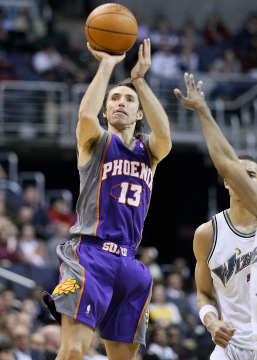 Steve Nash as seen in a picture taken just as he leaps to throw the ball to the basketball in a match between Phoenix Suns vs. Washington Wizards in January 29, 2009