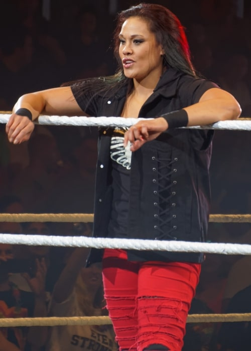 Tamina Snuka in the ring at a WWE live event in Liège on May 22, 2014