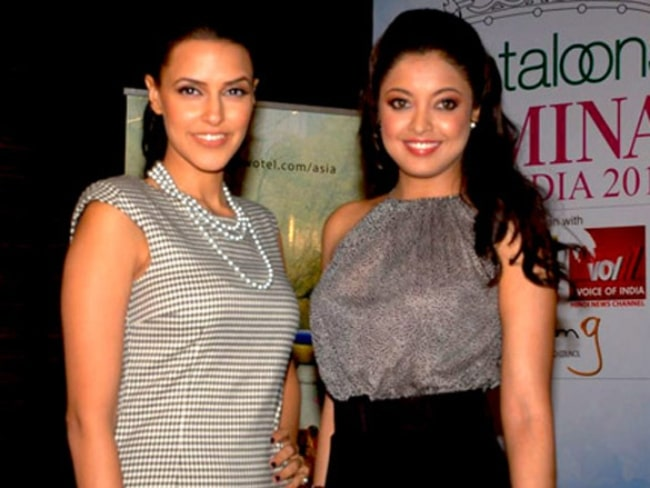 Tanushree Dutta (Right) as seen while posing for the camera alongside Neha Dhupia at Femina Miss India Finalists in May 2012