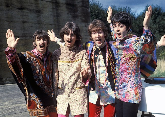 The Beatles during Magical Mystery Tour in 1967 - Paul McCartney (Extreme Right)
