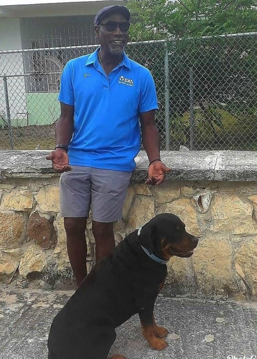 Vivian Richards with his dog as seen in May 2019
