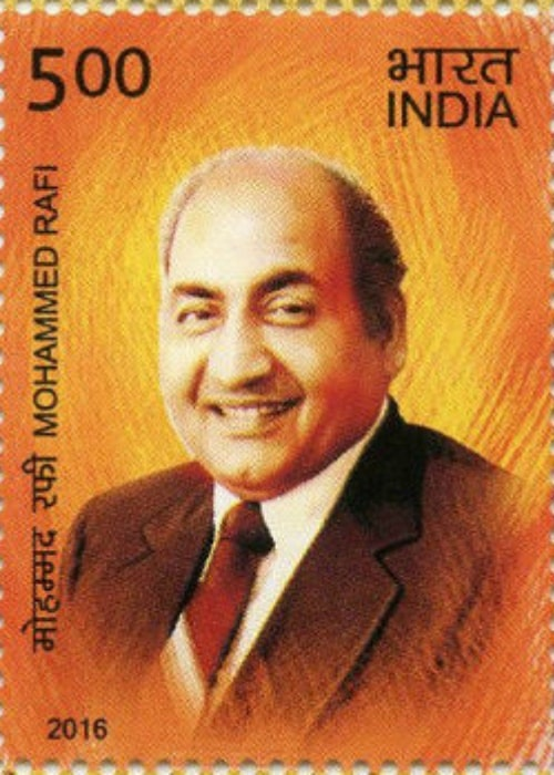 A picture of Mohammed Rafi on the 2016 stamp of India
