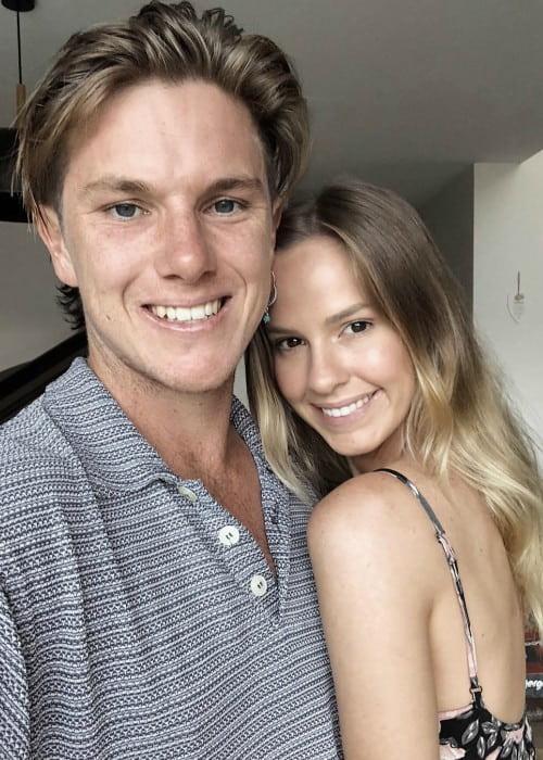 Adam Zampa and Hattie Palmer in a selfie in January 2019