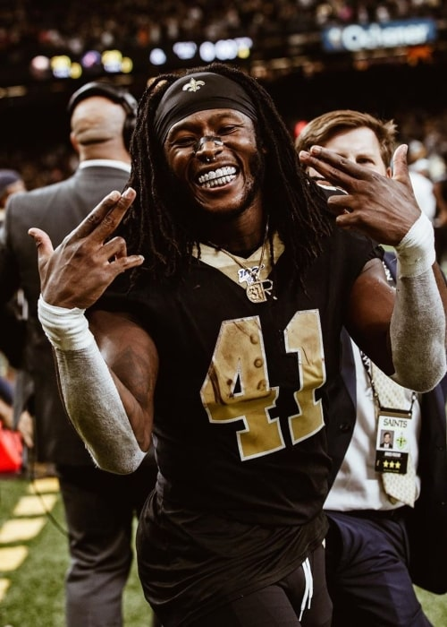 Alvin Kamara as seen in a picture taken after winning game at the Mercedes-Benz Superdome in September 2019