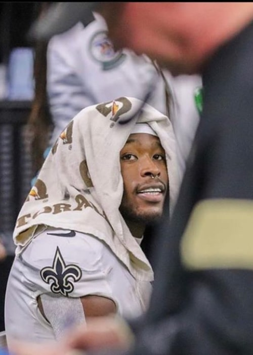 Alvin Kamara as seen in a picture taken in while on the bench during a match in January 2020