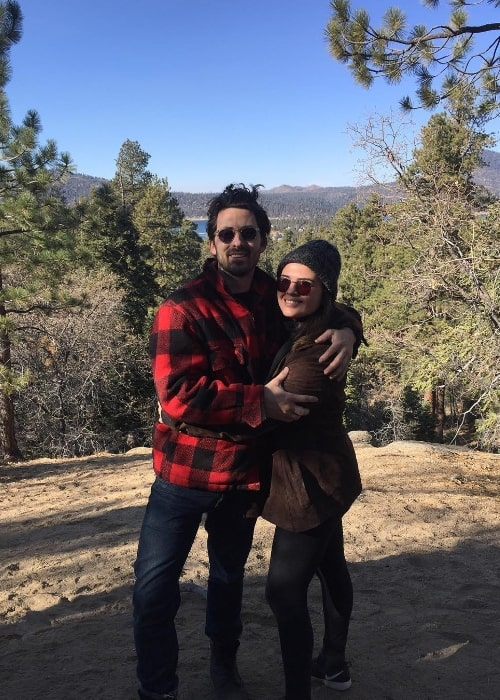 Andy Bean as seen while posing for the camera along with Lizzy Loeb at Big Bear Lake in San Bernardino County, California, United States