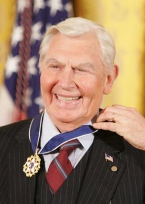 Andy Griffith as seen while receiving the Presidential Medal of Freedom presented to him by President George W. Bush in November 2005