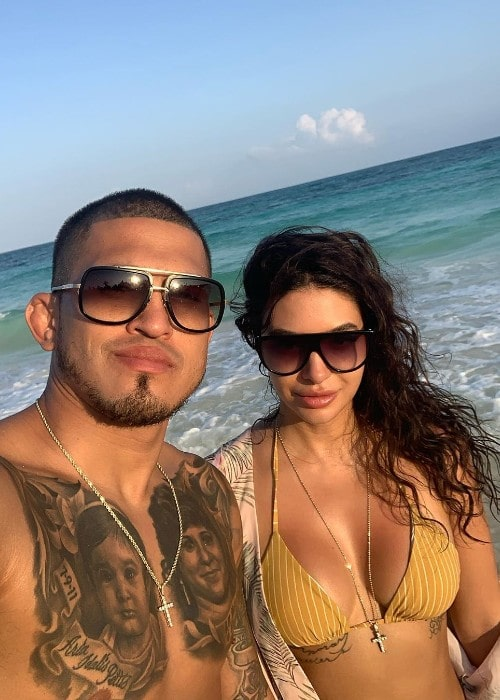 Anthony Pettis with his girlfriend as seen in January 2020