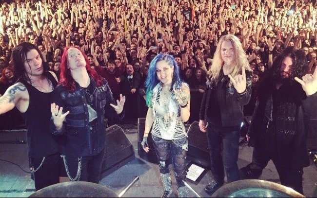 Arch Enemy as seen during an event in Barcelona, Spain in April 2015