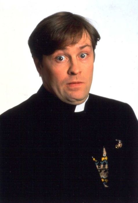 Ardal O'Hanlon seen as his character Father Dougal from the TV show Father Ted