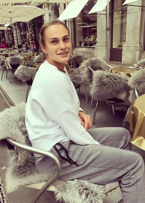 Aryna Sabalenka in an Instagram post as seen in April 2017