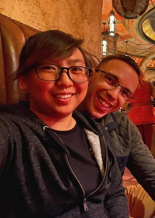 Austin Evans as seen in a picture taken with his wife at the Oga's Cantina in Galaxy's Edge in January 2020